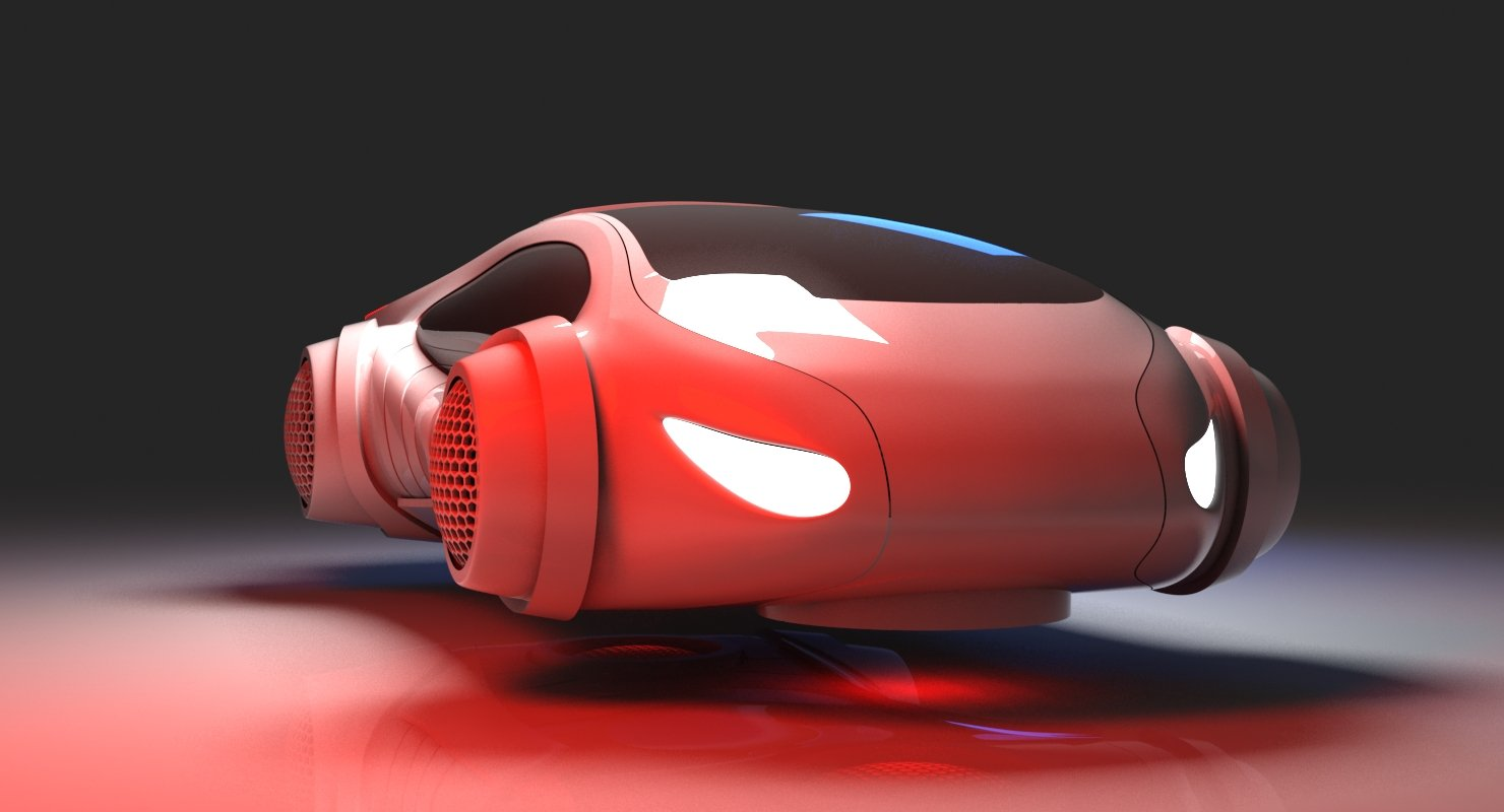 Futuristic Car HD  3D Model - WireCASE