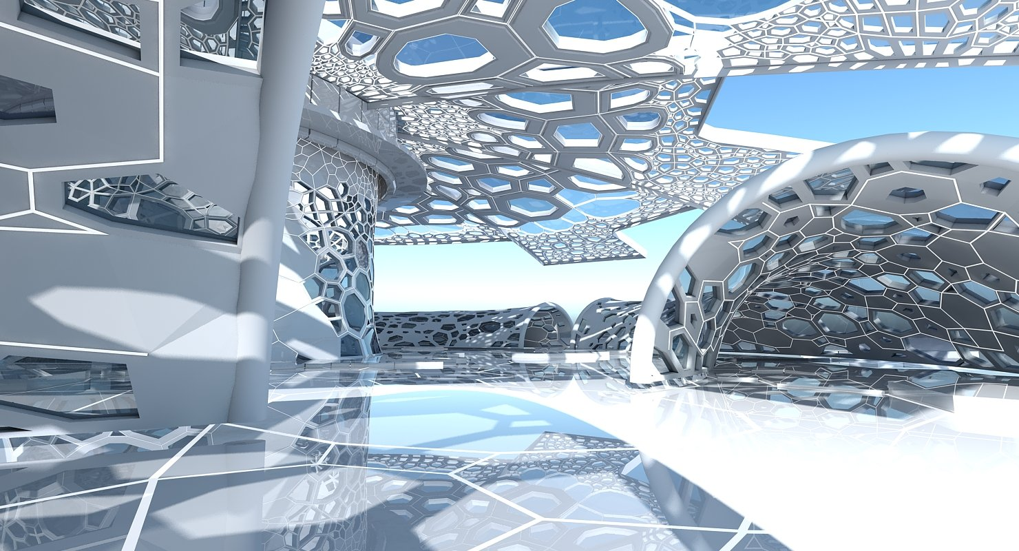 3D Futuristic Architectural Dome Interior  2 - WireCASE
