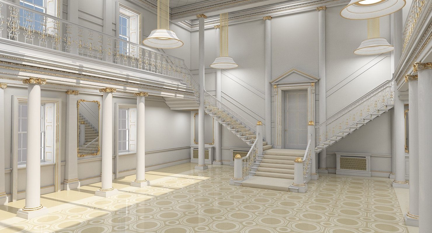 3D model Grand Hall Lobby Staircase 2 - WireCASE