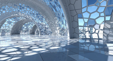 3D Futuristic Architectural Dome Interior  3 - WireCASE