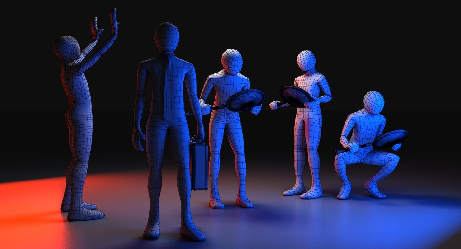 3D Men Posed - WireCASE