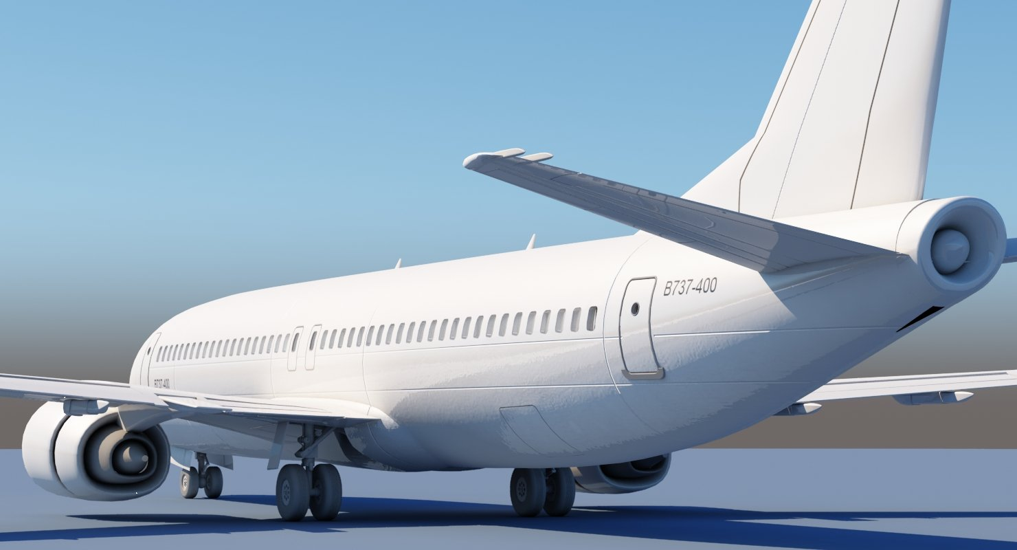 737 400 3D model No Interior - WireCASE