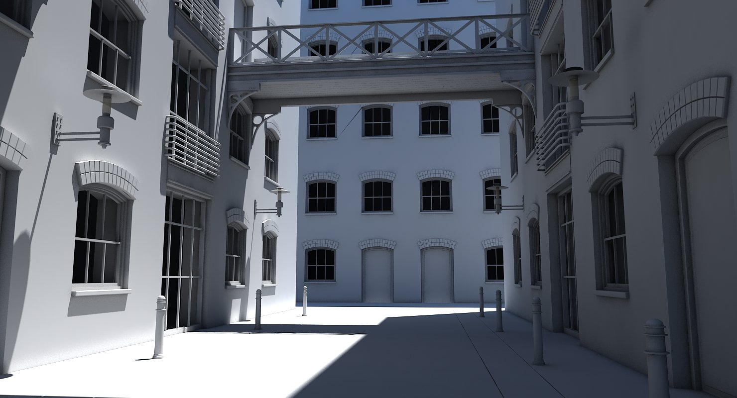3D Building Alleyway - WireCASE