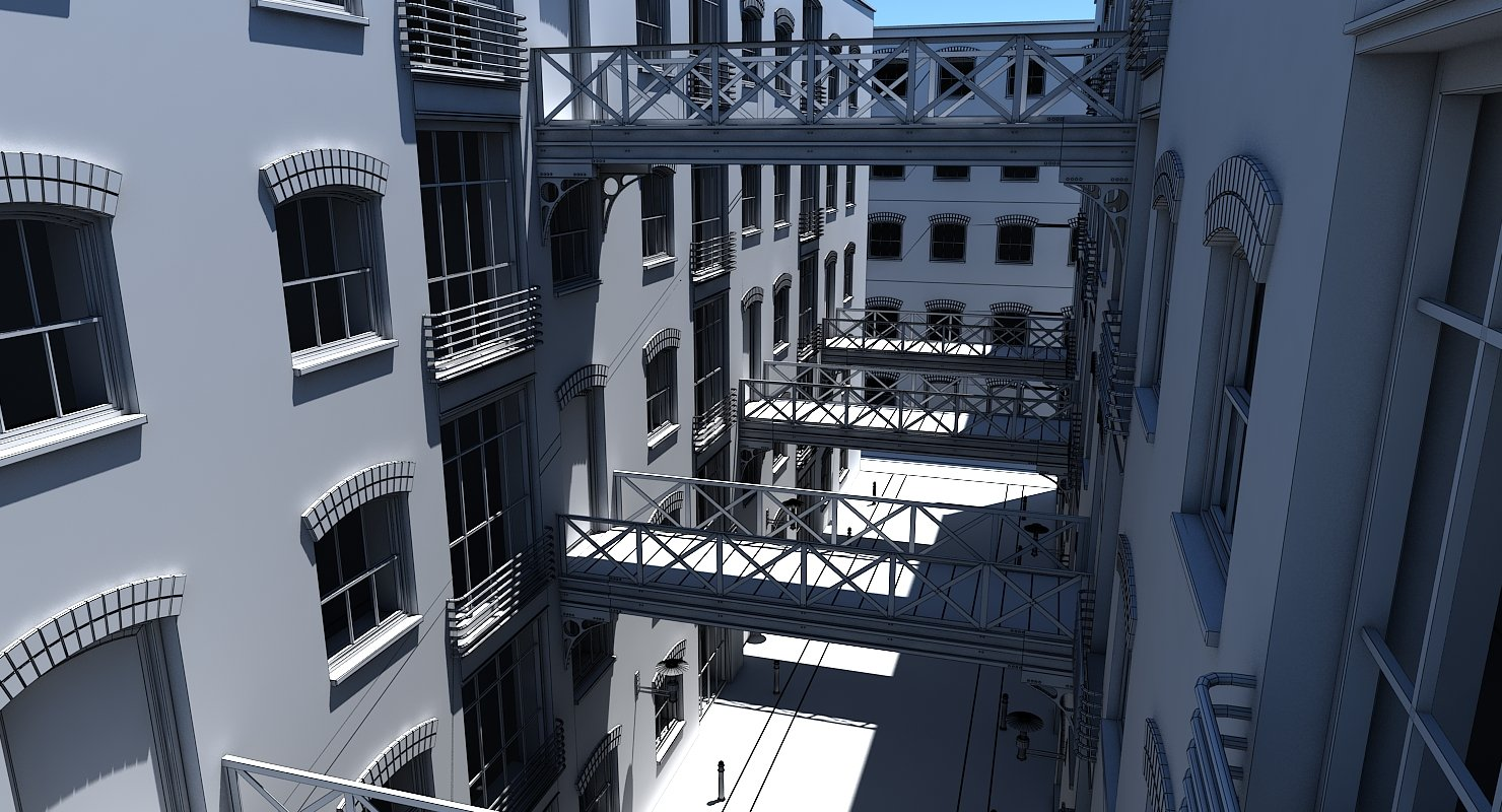 3D Building Alleyway Textured - WireCASE