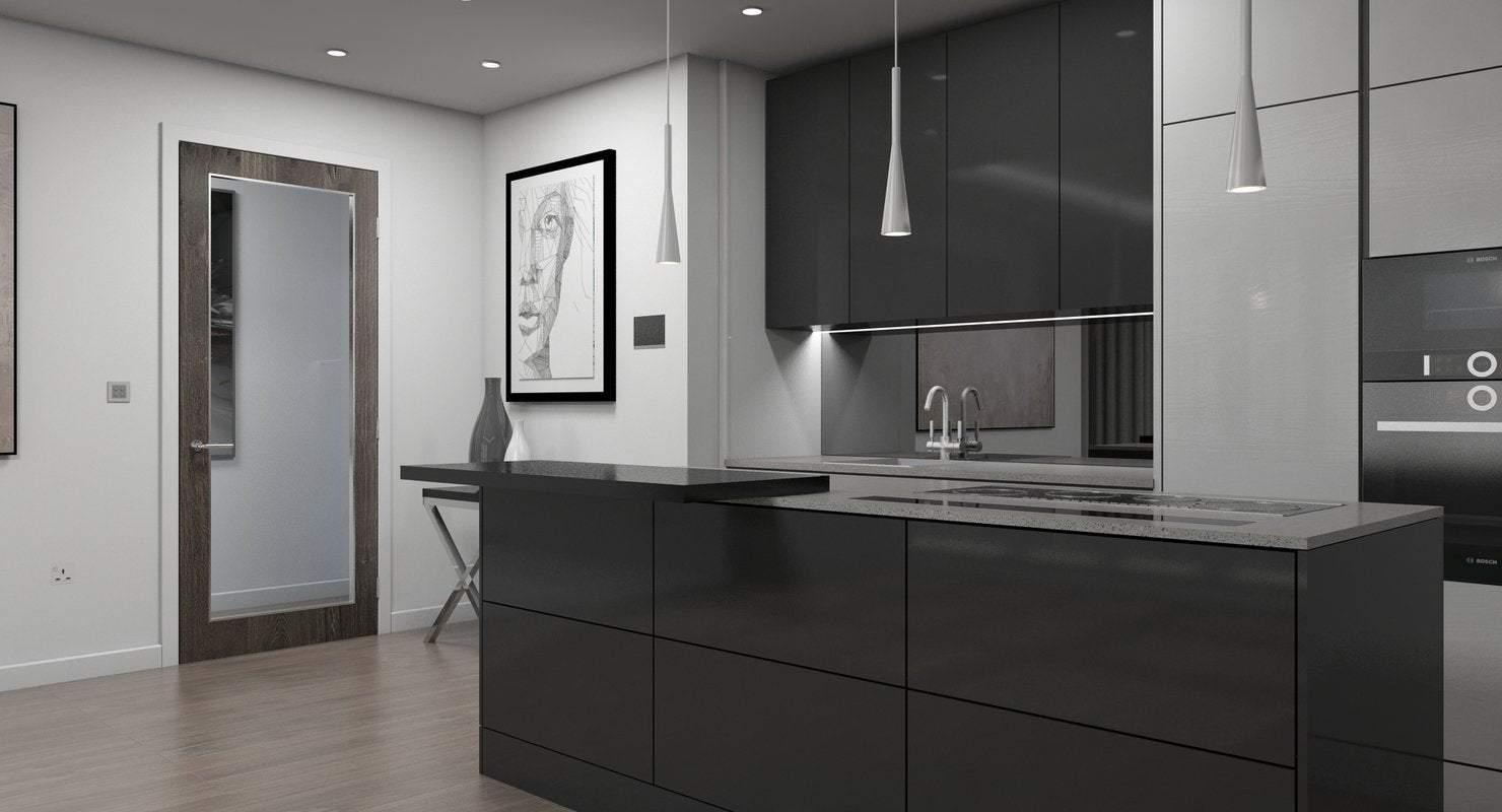 3D Living Room Kitchen Interior model - WireCASE