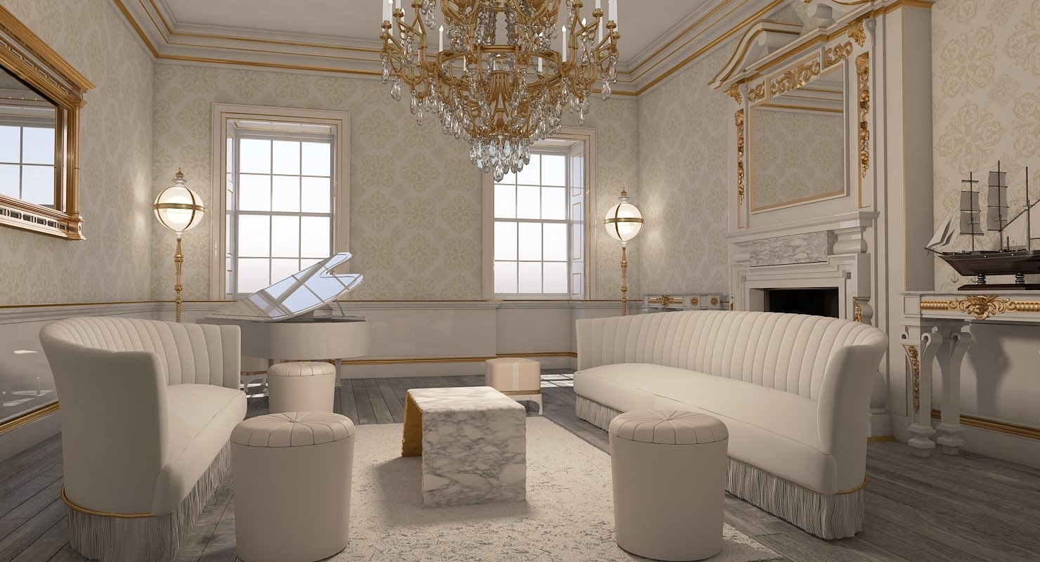 Classic Interior Room 3D model - WireCASE