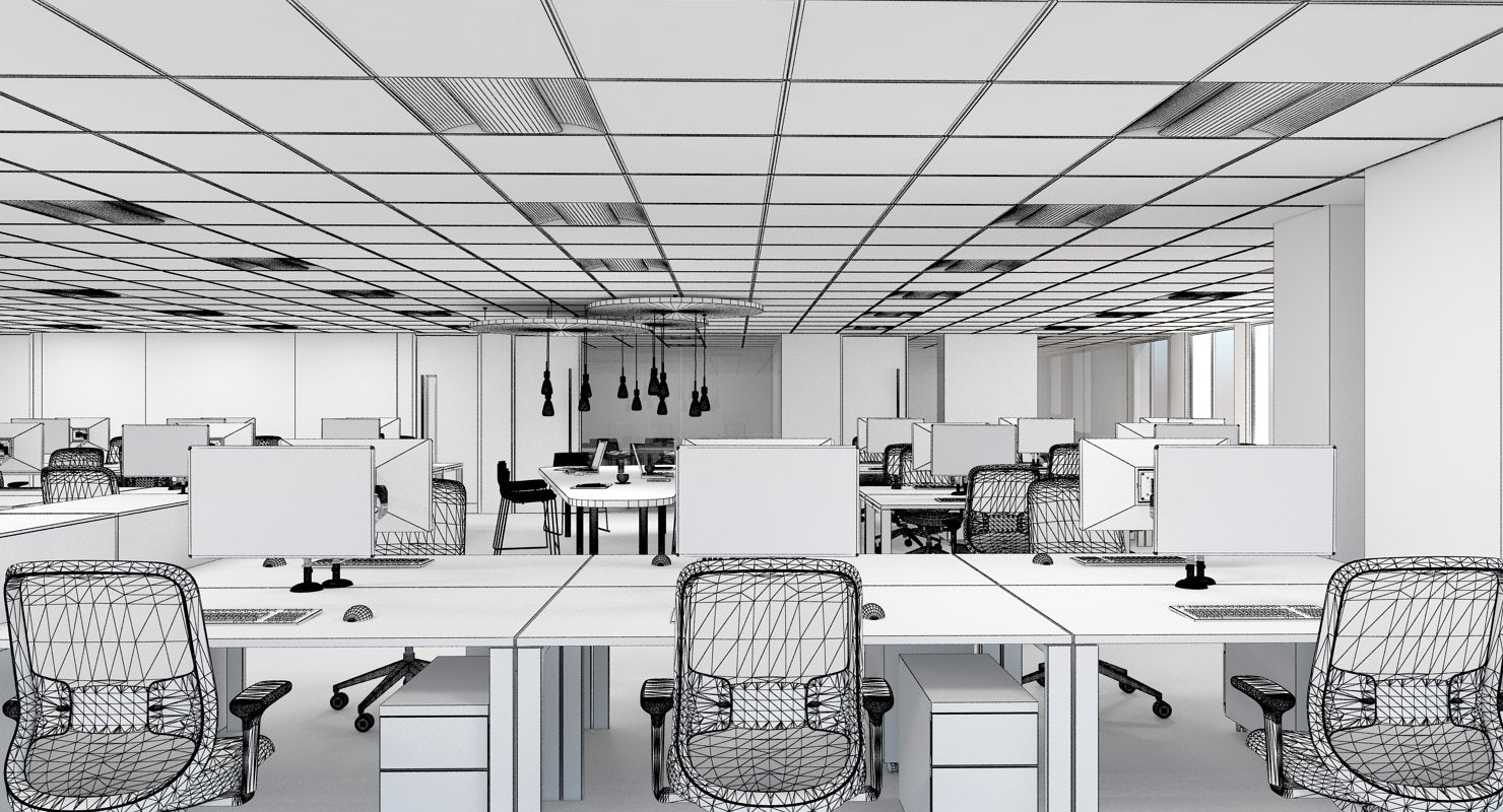 3D Office Interior 40 Model - WireCASE