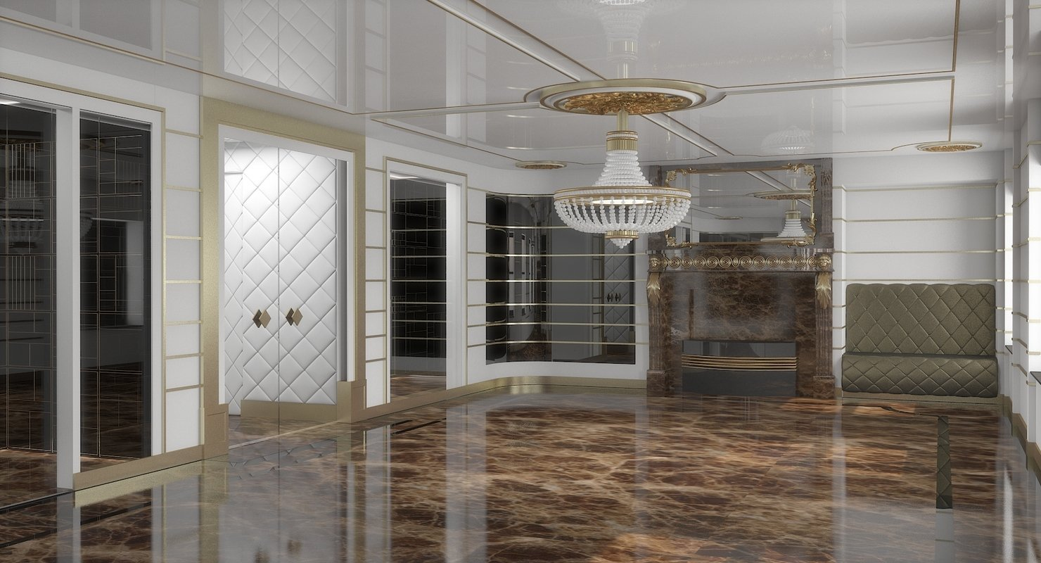 Classic Luxury Interior 3D Model - WireCASE