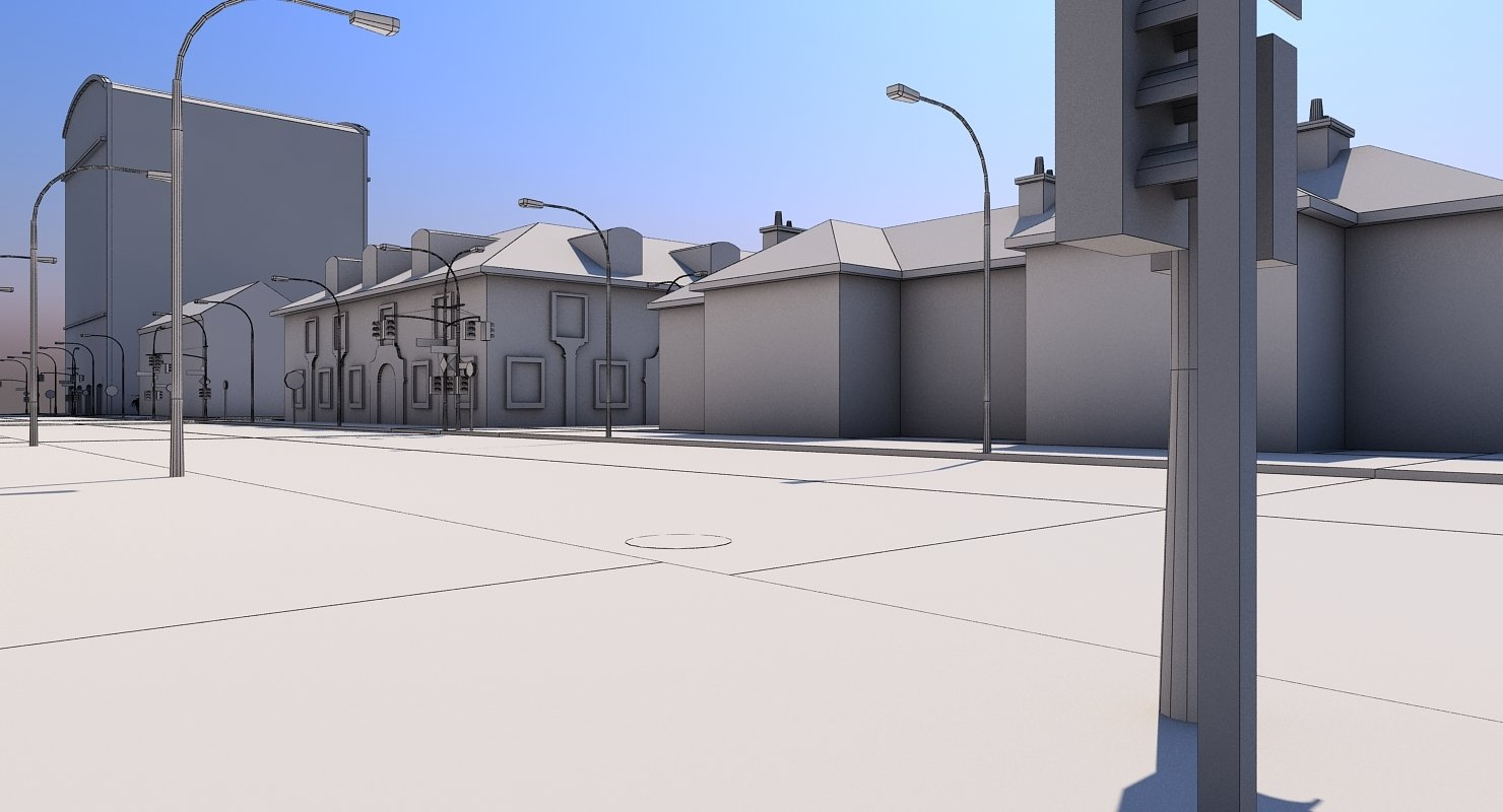 Low Poly City Block A - WireCASE