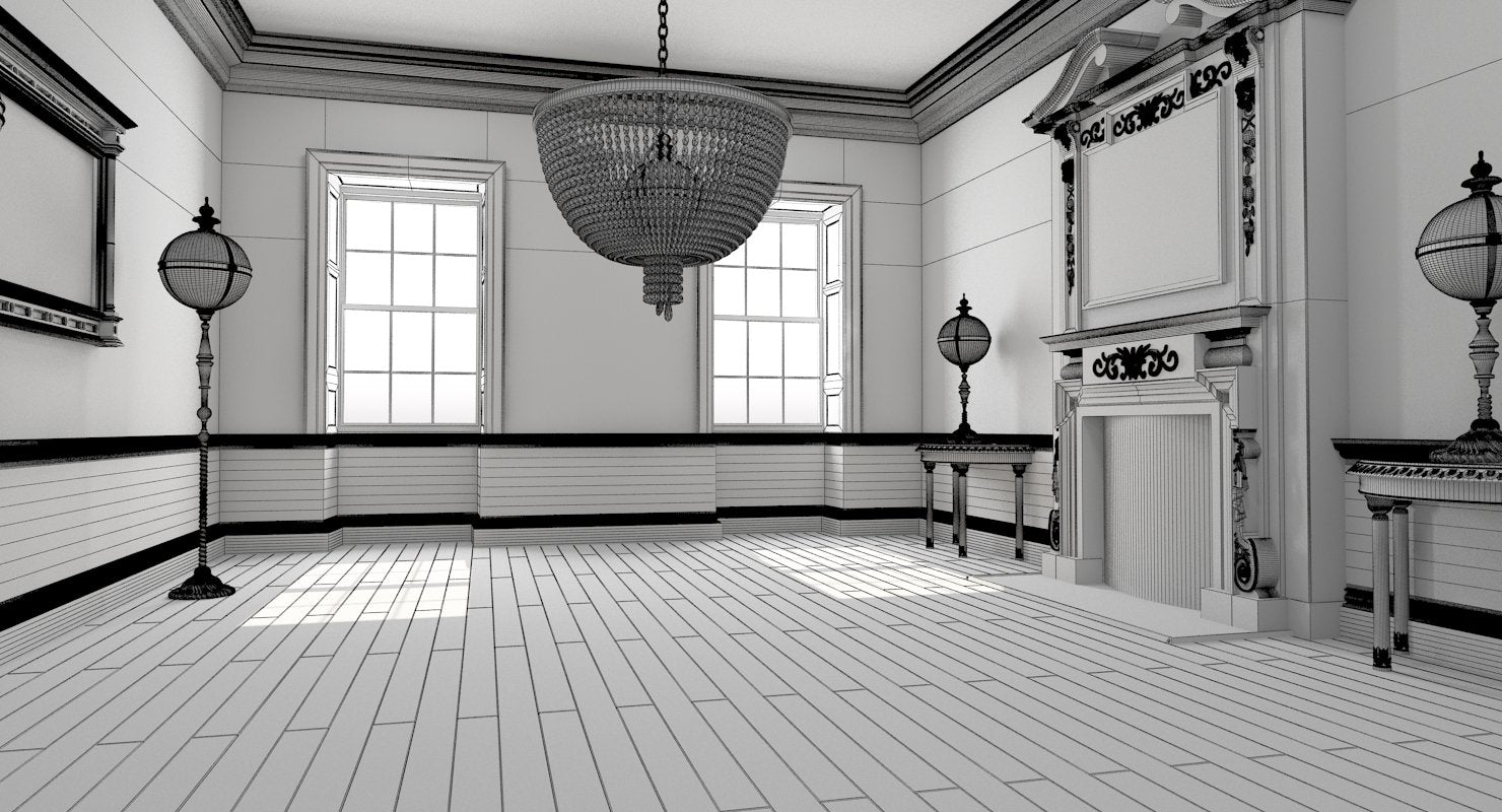 Classic Interior 34 3D Model - WireCASE