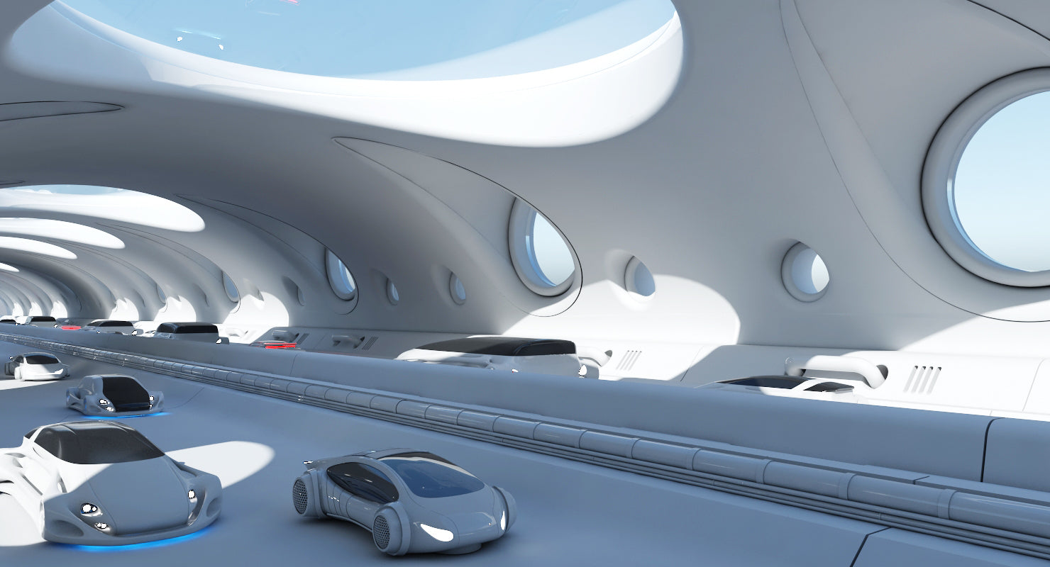 Futuristic Tunnel With Cars 325