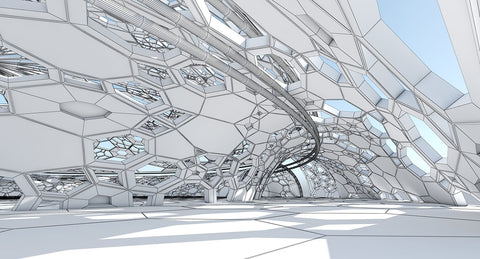 3D Futuristic Architectural Dome Interior Model - WireCASE