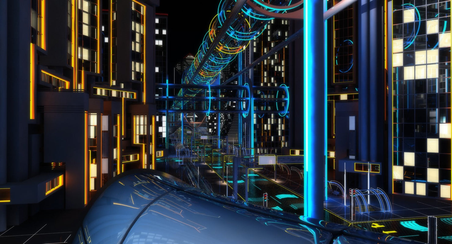 Future City HD 7 Night 3D model - WireCASE