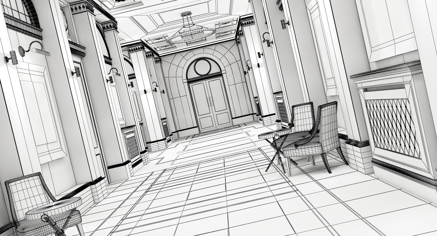 Classic Interior Hallway 3D Model - WireCASE
