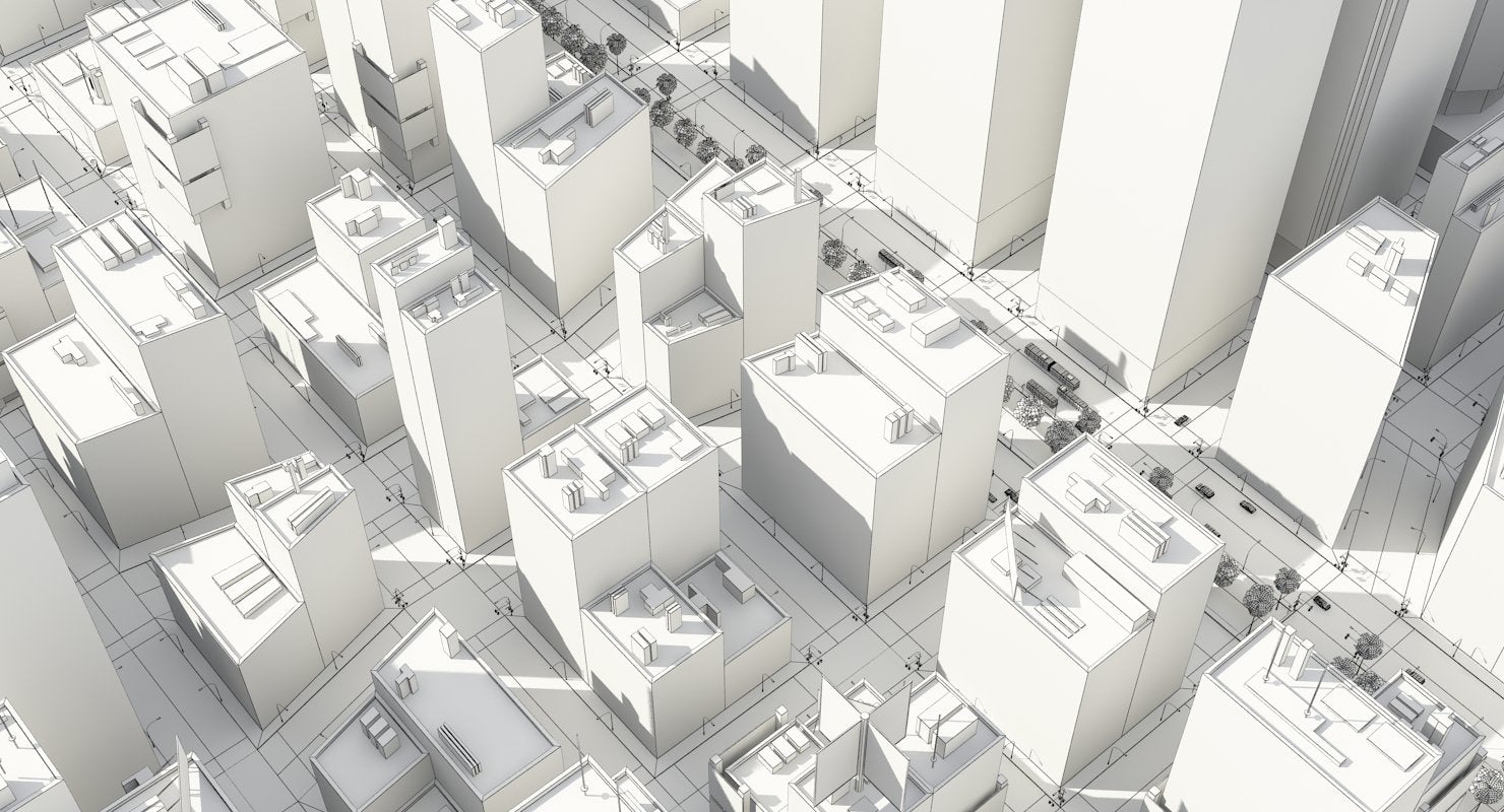 3D City Low Poly - WireCASE
