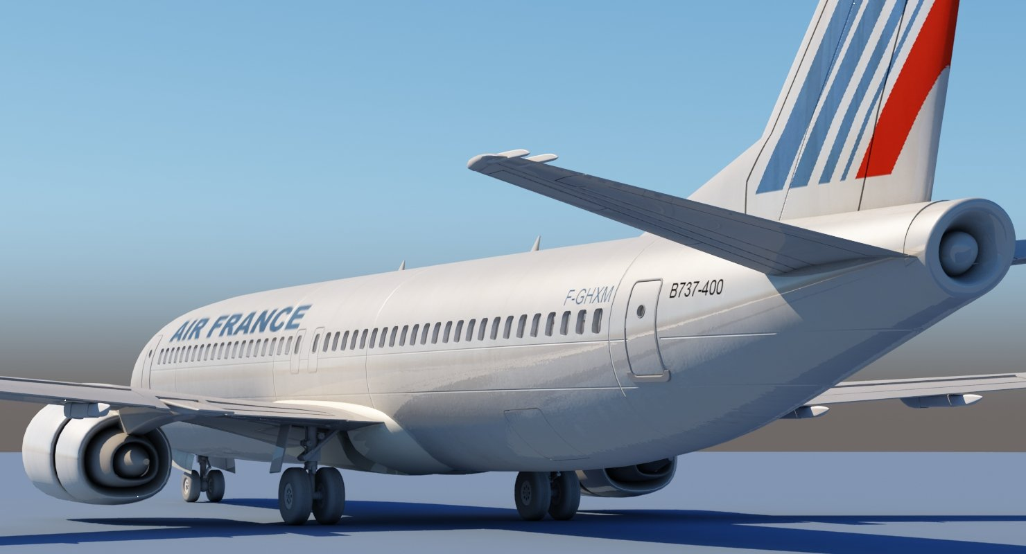737 400 AirFrance 3D model - WireCASE