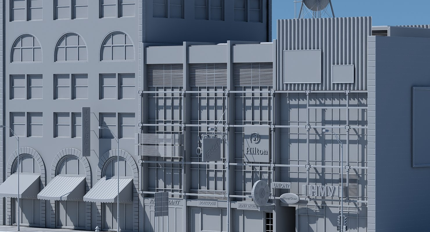 Commercial Building Facade 07 - WireCASE