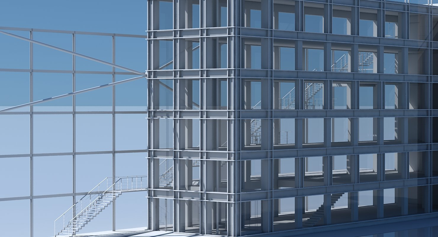 Commercial Building Facade 08 - WireCASE