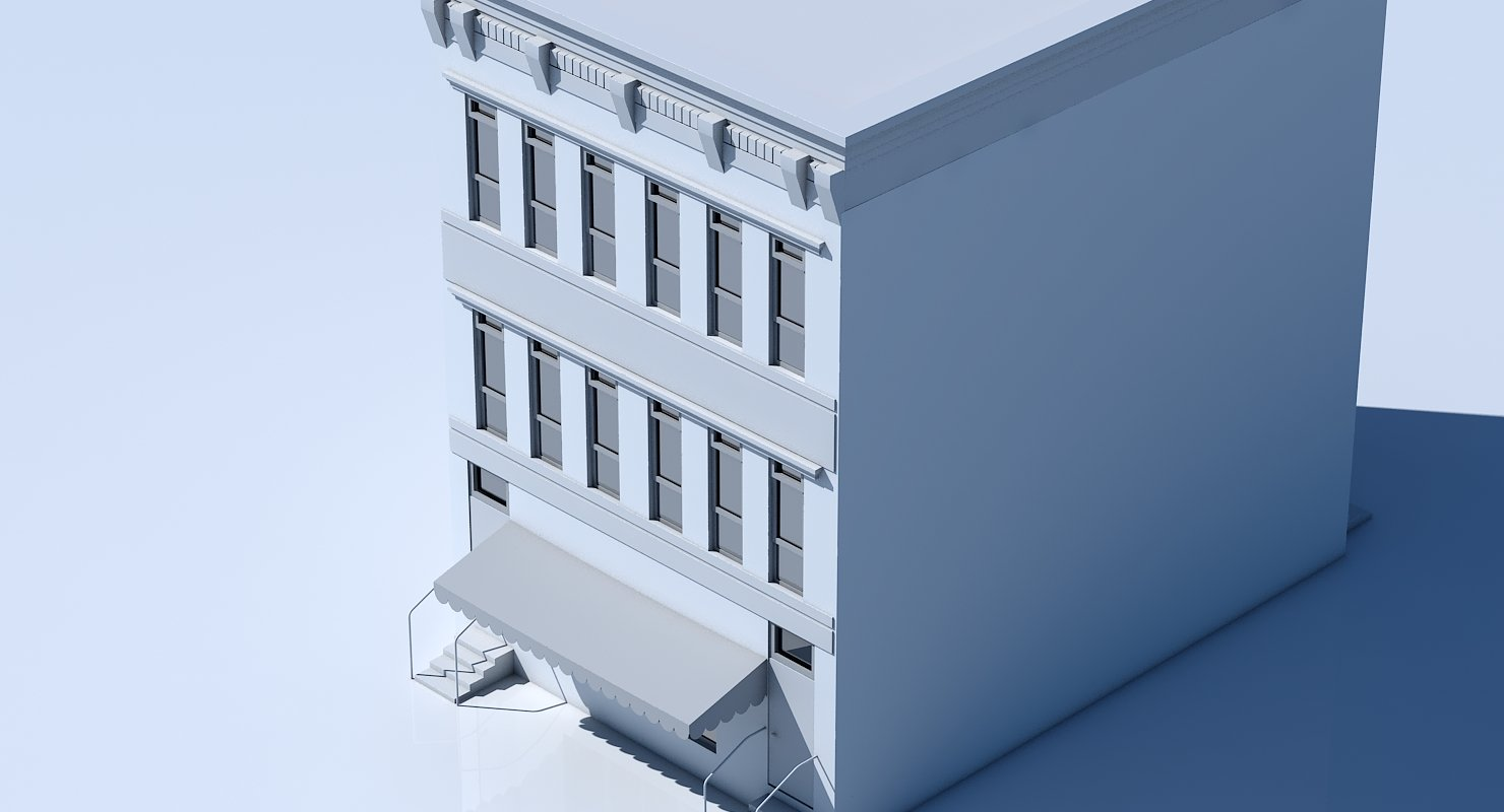 Free Commercial Building Facade 09 - WireCASE