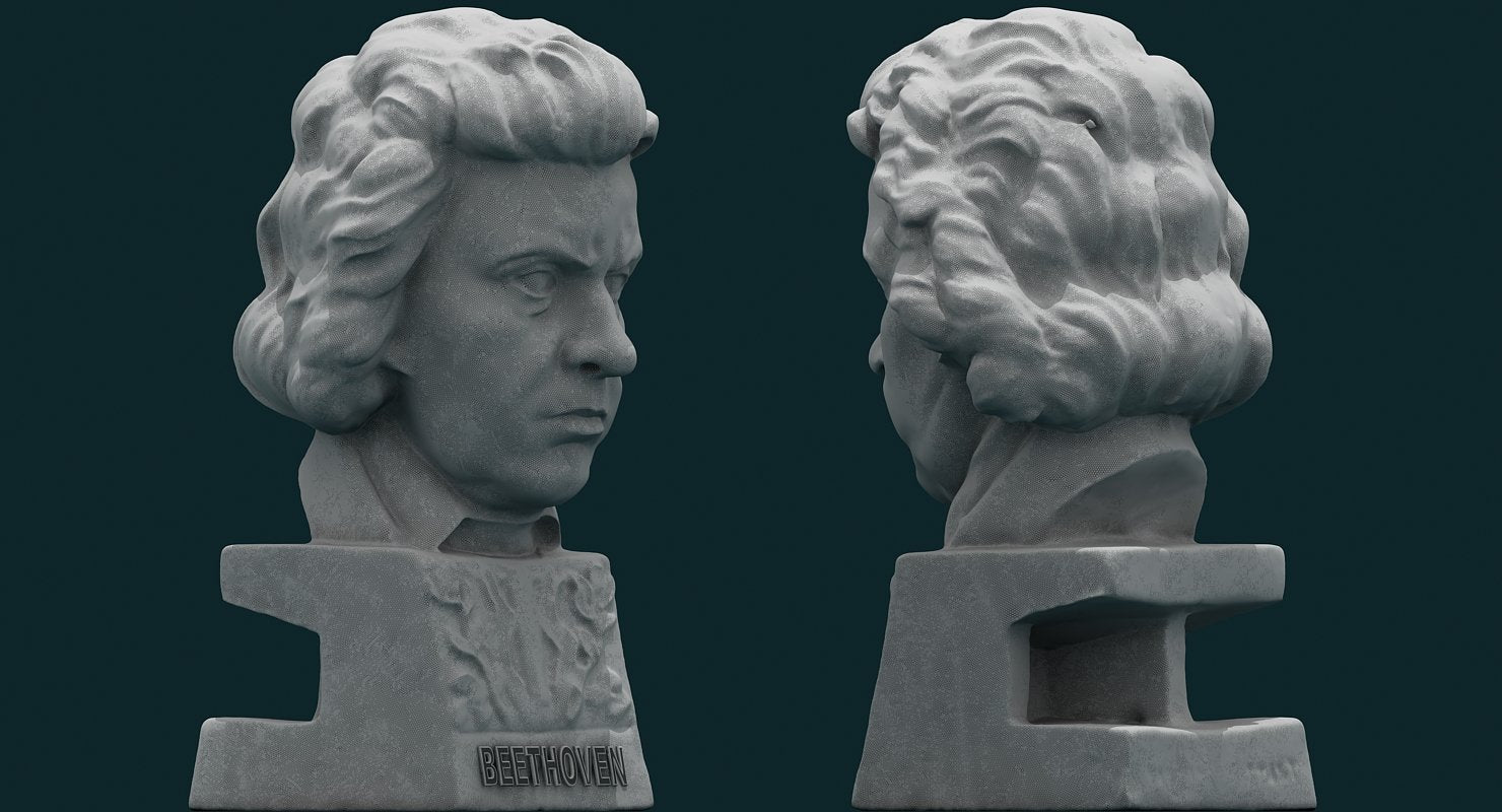 Beethoven Sculpture Figurine 3D model - WireCASE
