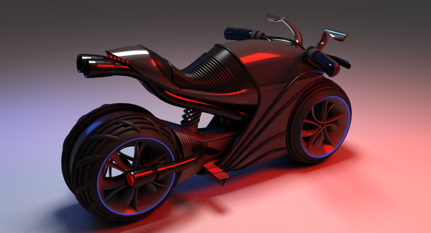 3D Futuristic Motor Bike - WireCASE