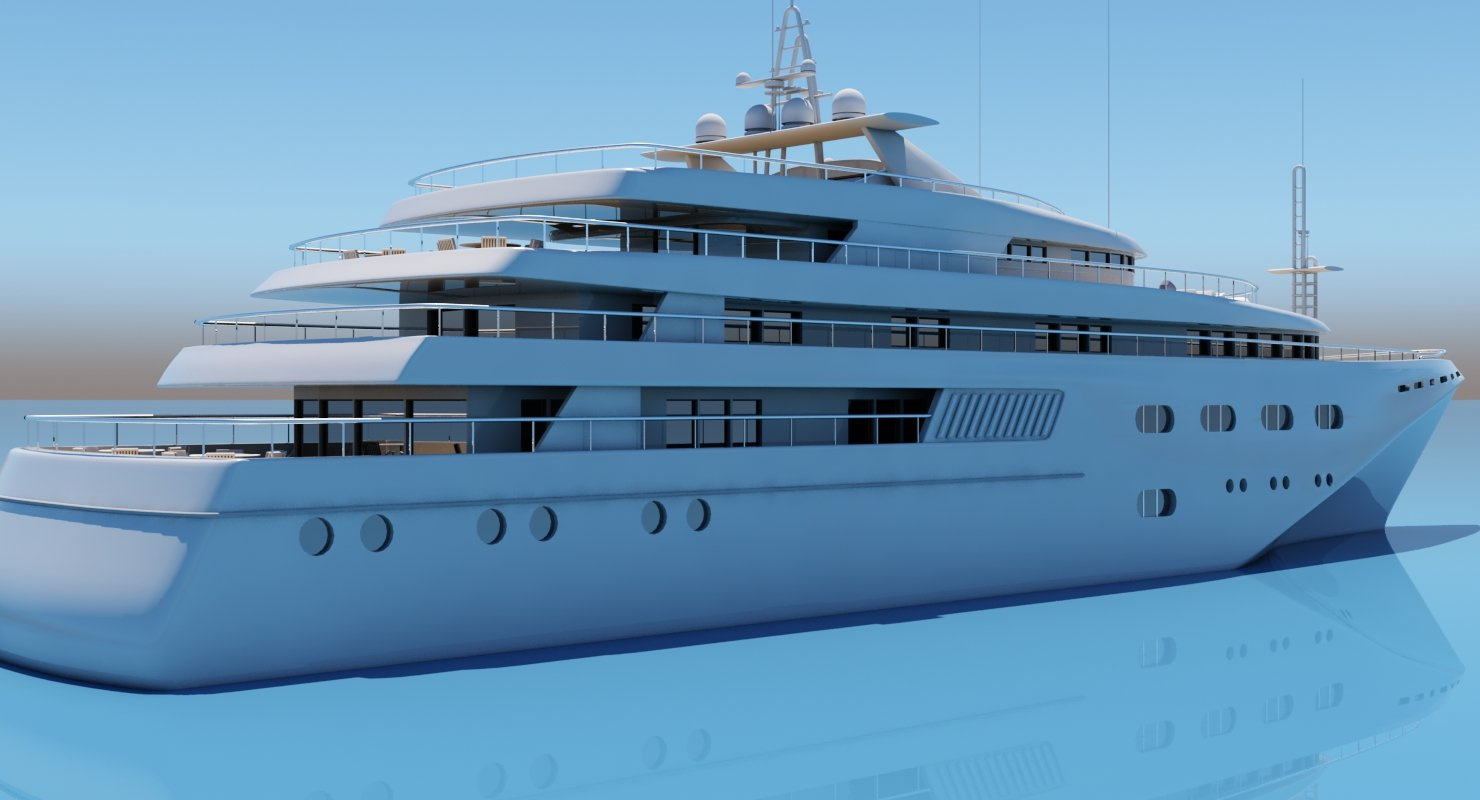3D Super Yacht - WireCASE