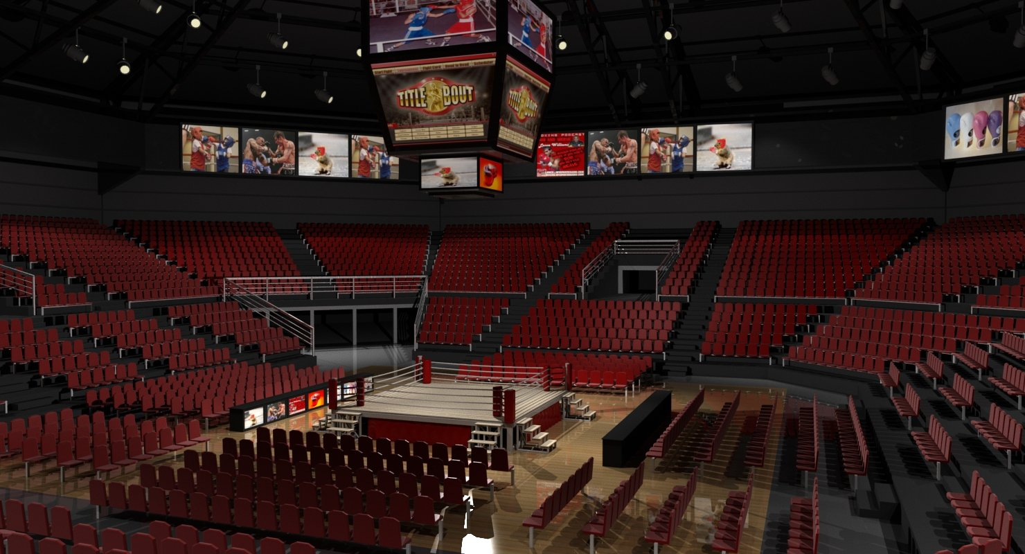 Boxing Arena 3D model - WireCASE