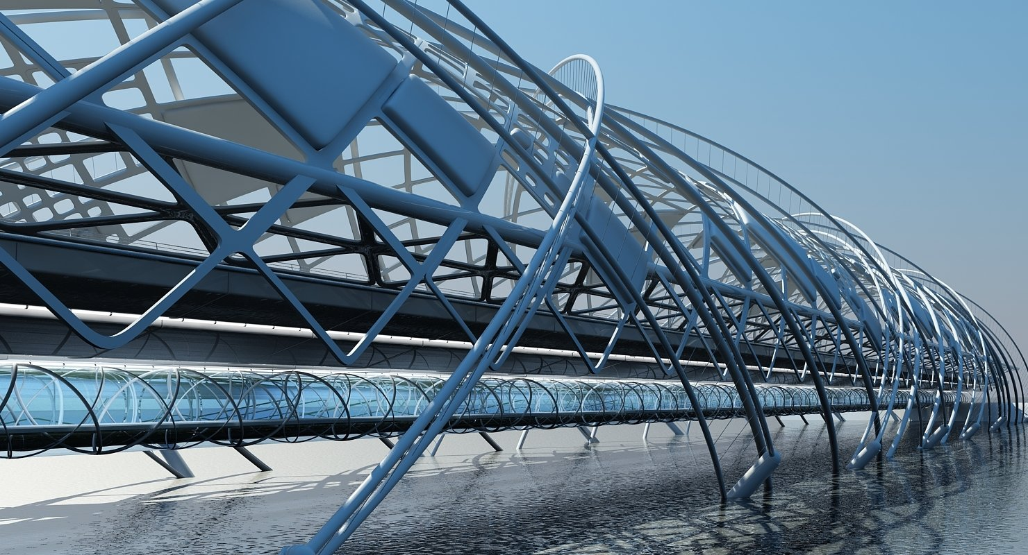 Futuristic Suspension Bridge 2 HD - WireCASE