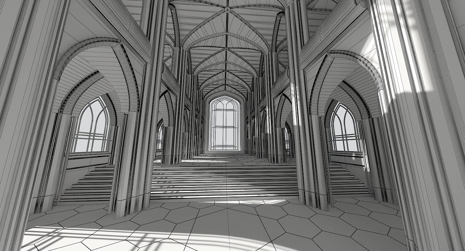 3D Cathedral Interior Futuristic - WireCASE