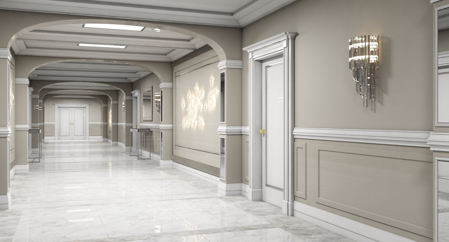 3D Grand Corridor Tileable Kit 3 model - WireCASE