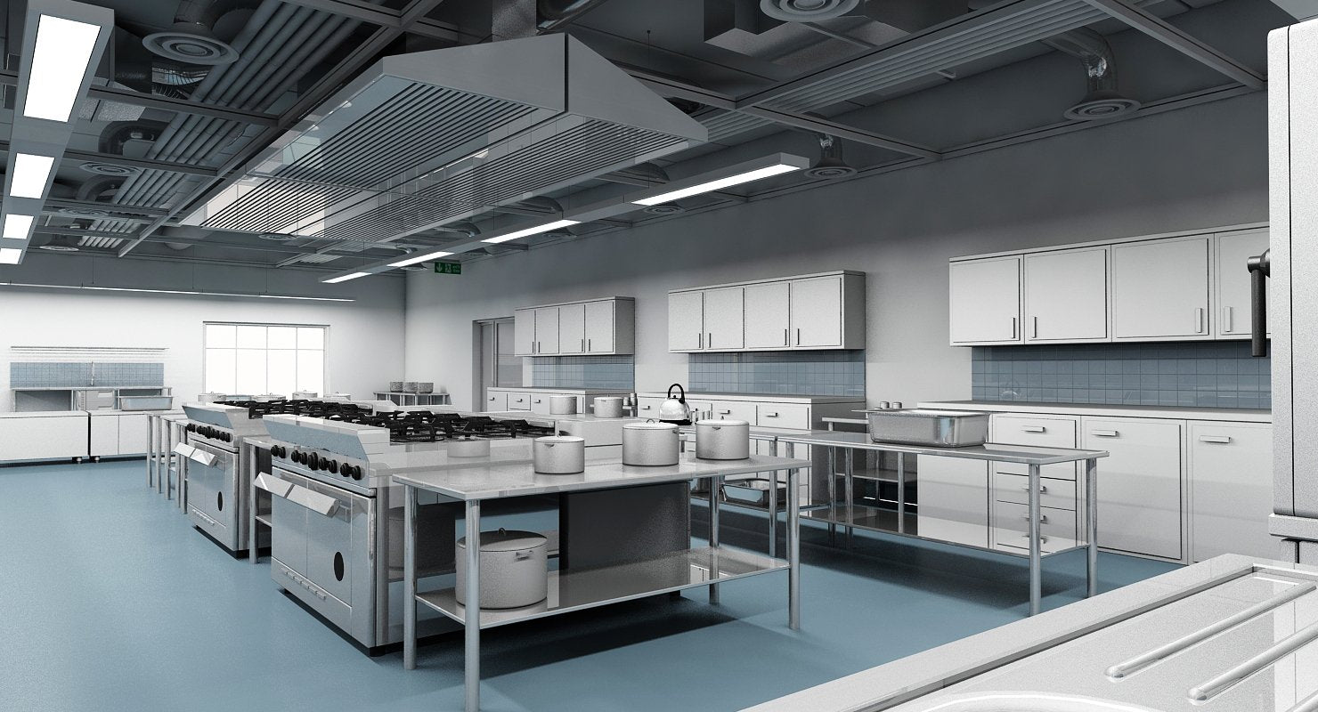 Commercial Kitchen 3d Model Wirecase
