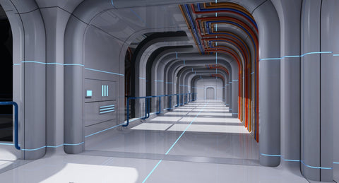 Futuristic Space Ship Interior Corridor 3D Model - WireCASE