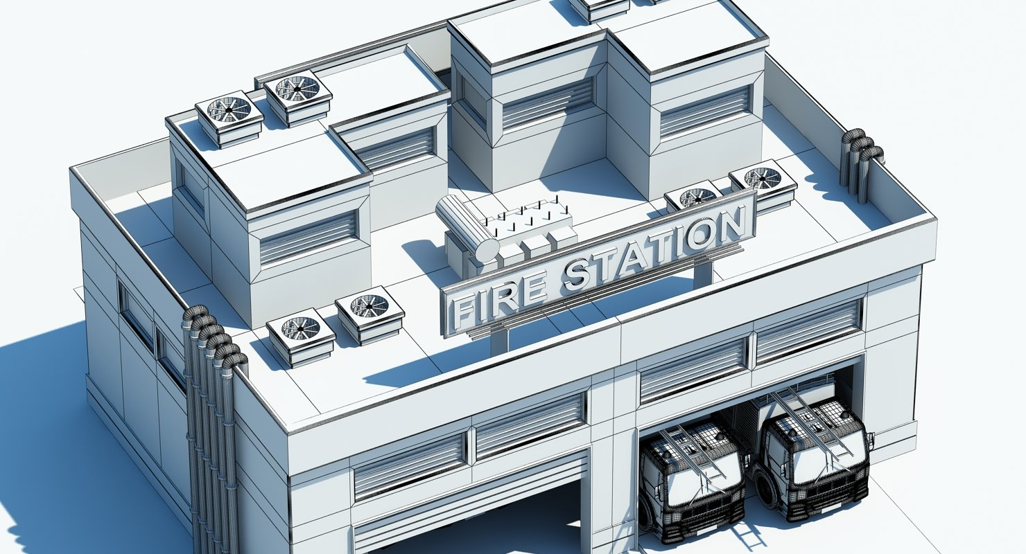 Cartoon Fire Station Building 3D Model - WireCASE