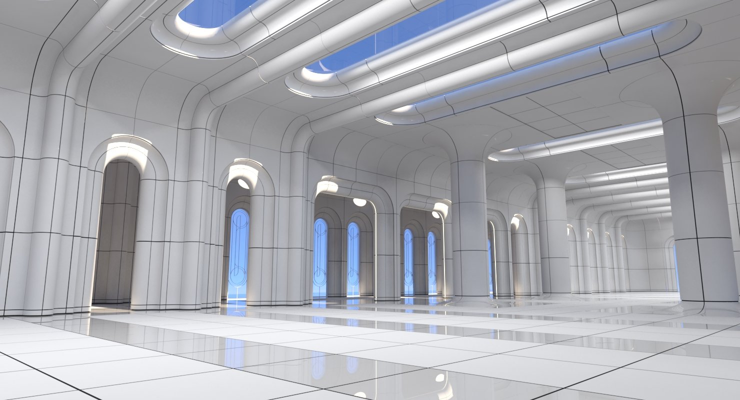 Classic Futuristic Interior Scene 3D model - WireCASE