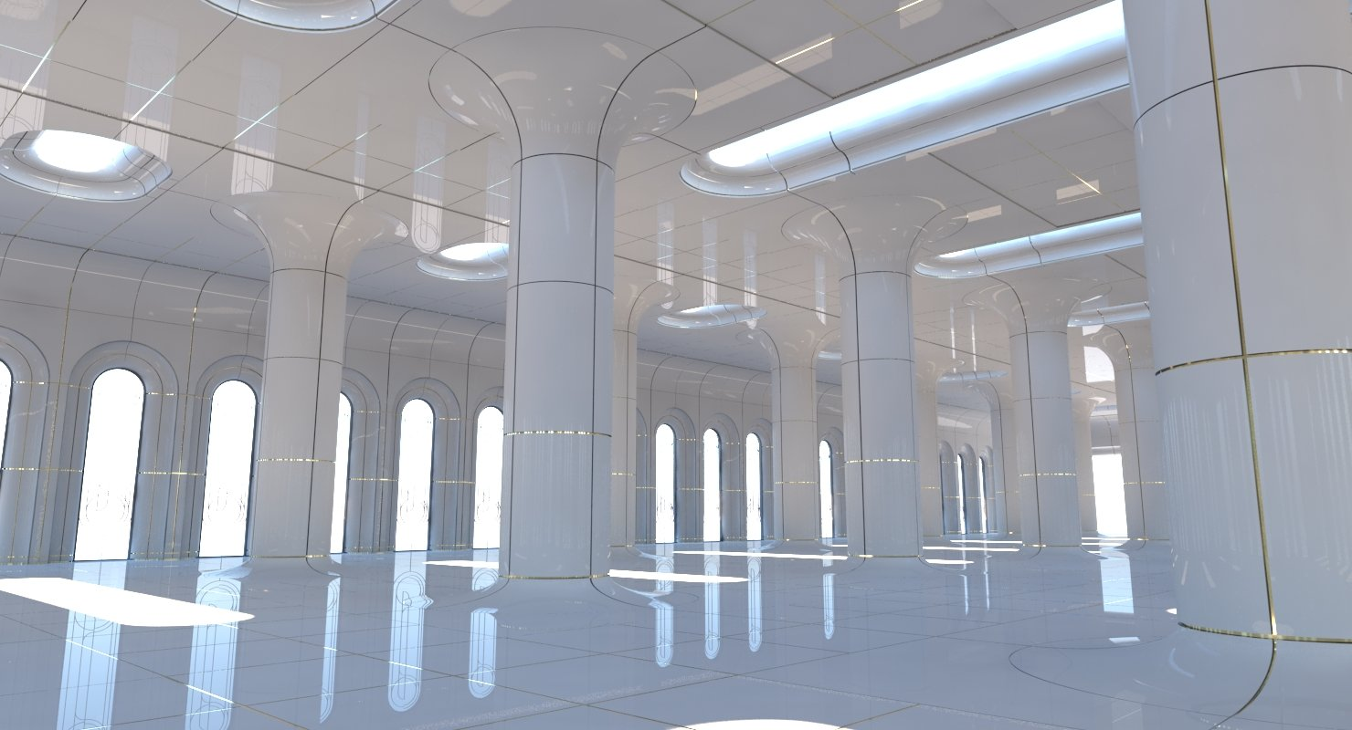 Classic Futuristic Interior Scene 2 3D Model - WireCASE