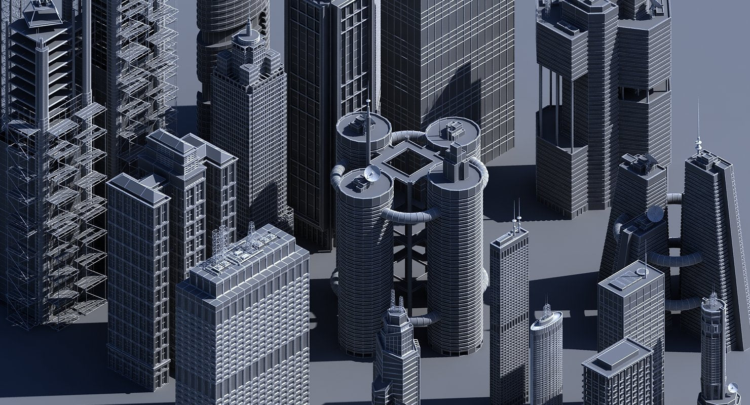 3D Generic Skyscrapers - WireCASE