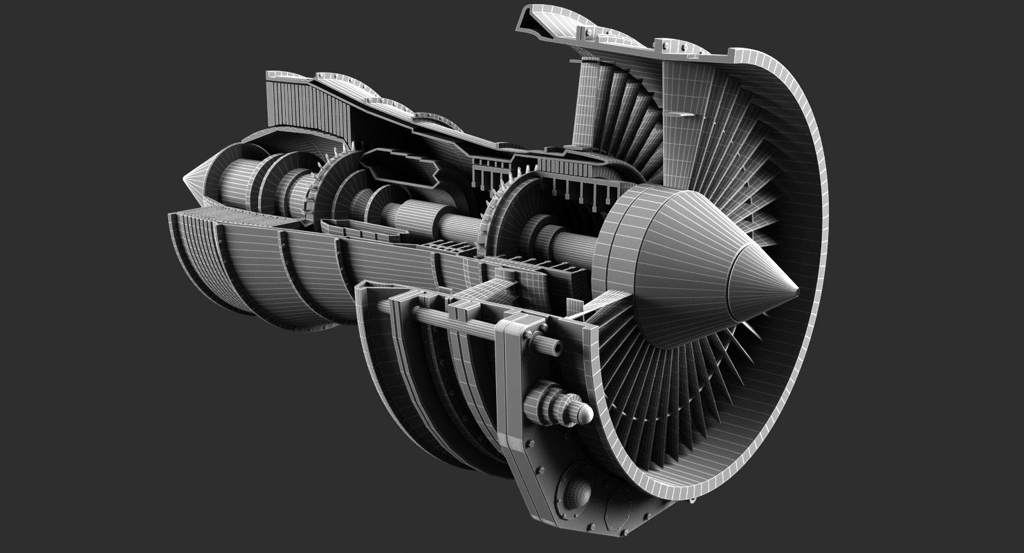 Jet Engine 3D Model - WireCASE