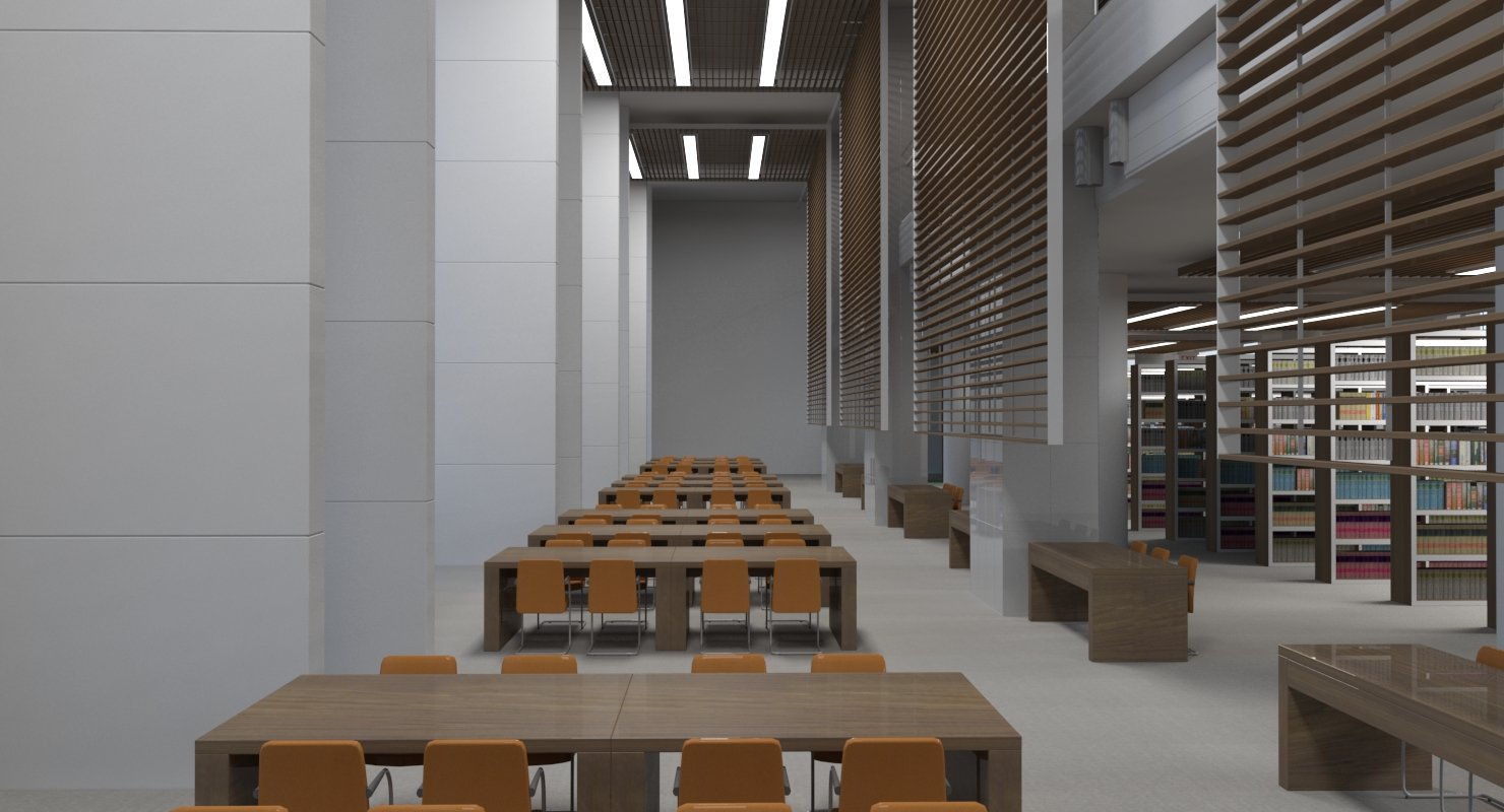 Library Interior 3d Scene - WireCASE