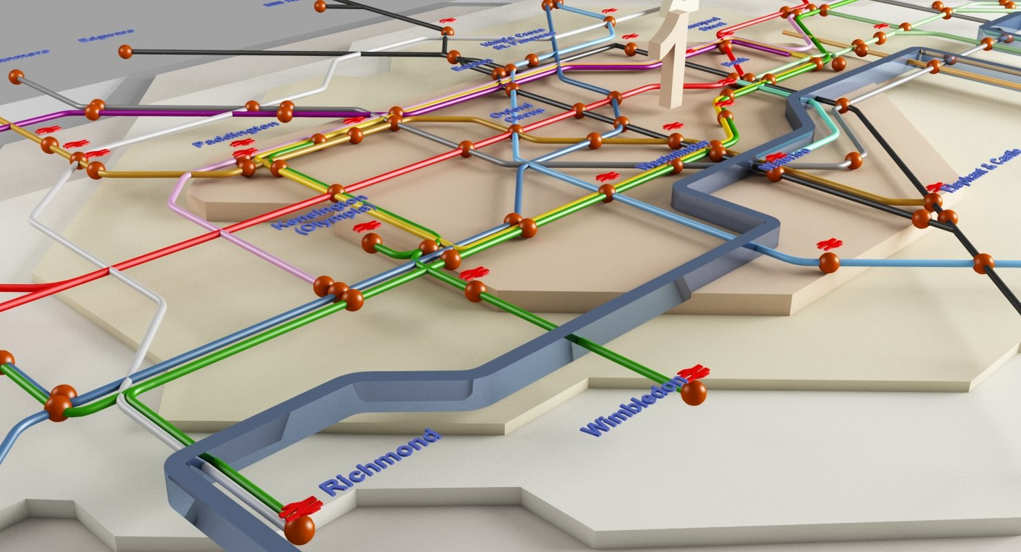 London Underground Map 3D - WireCASE