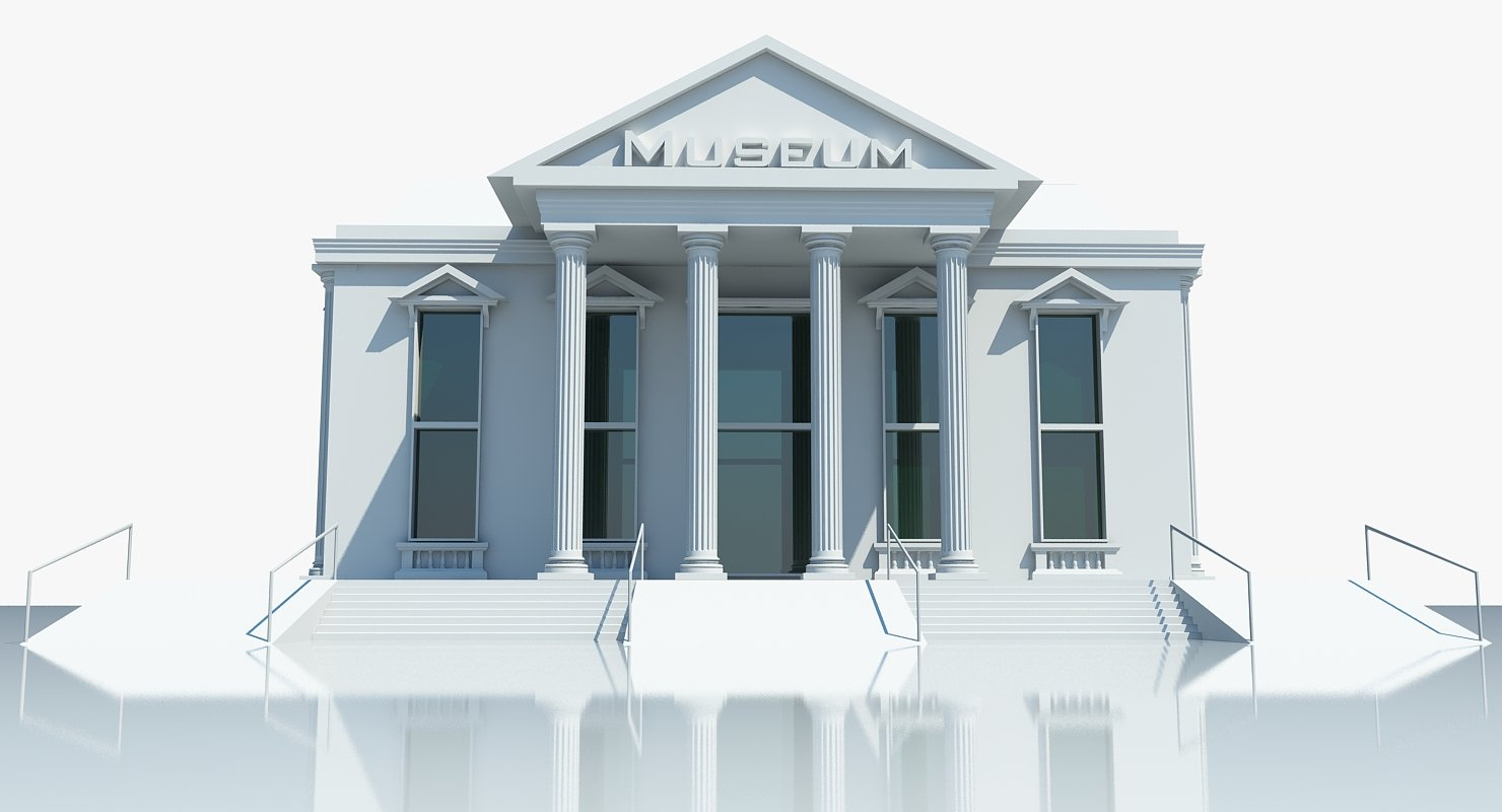 Museum Building 3D Model - WireCASE