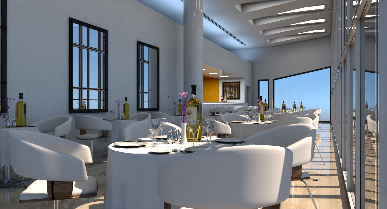 Restaurant Interior 3D Model - WireCASE