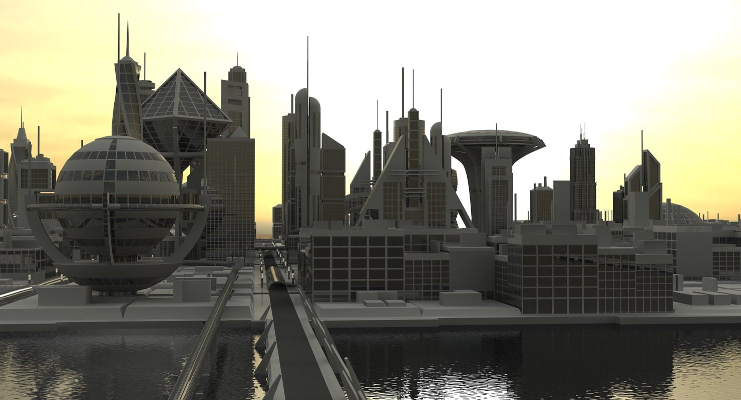 Sci-Fi City 3D Model - WireCASE