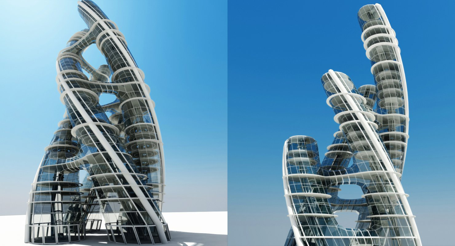 Futuristic Skyscraper 3D Model - WireCASE