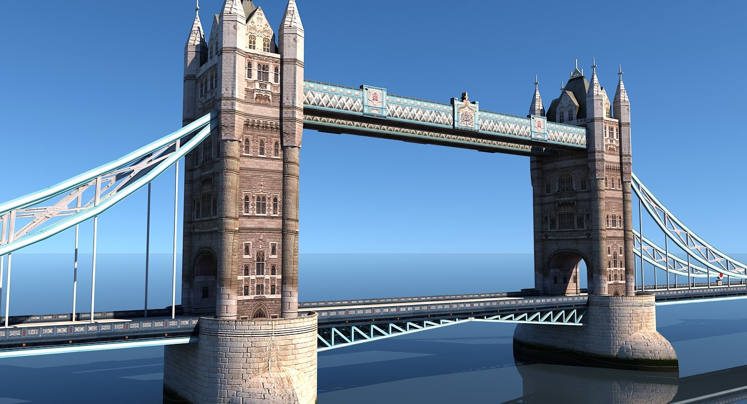3D Tower Bridge Low Poly - WireCASE