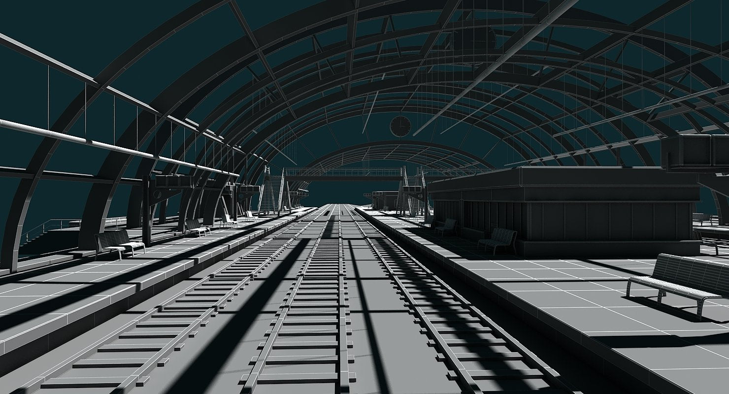 3D Train Station 09 - WireCASE
