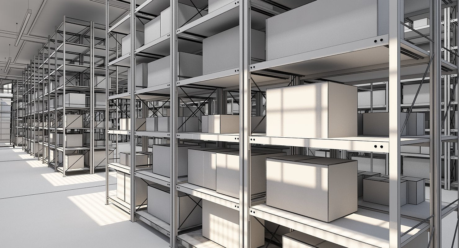 Warehouse Interior Furnished 3D model - WireCASE