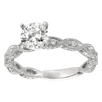 Antique Style Pave Diamond Engagement Ring