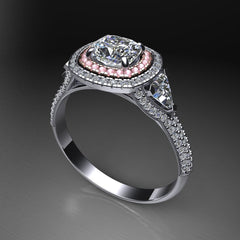 Custom Pave Halo Engagement Ring with Pink Sapphires in Halo