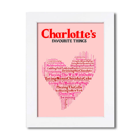Favourite Things Personalised Poster