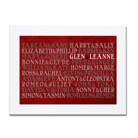 Famous Couples Personalised Poster